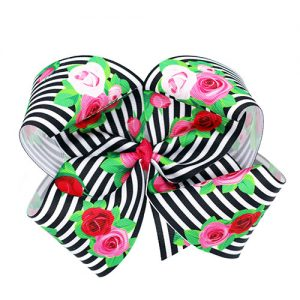 striped bow with roses